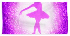Hand Towel featuring the painting Ballerina Purple And Pink by Bob Baker