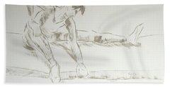 Ballet Dancer Seated Stretching Leg Hand Towel
