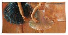 ballet lesson-painting on leather by Vali Irina Ciobanu  Bath Towel