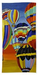 Bath Towel featuring the painting Balloon Expedition by Donna Blossom
