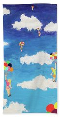 Bath Towel featuring the painting Balloon Girls by Thomas Blood