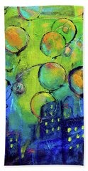 Cheerful Balloons Over City Hand Towel