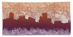 Hand Towel featuring the painting Baltimore City Skyline Map by Bekim Art