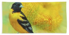 Bath Towel featuring the photograph Baltimore Oriole Watercolor Photo by Heidi Hermes