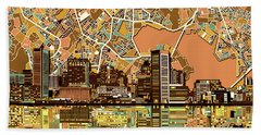 Baltimore Skyline Abstract 2 Bath Towel by Bekim Art