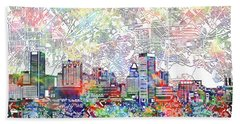 Hand Towel featuring the painting Baltimore Skyline Watercolor 11 by Bekim Art