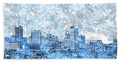 Hand Towel featuring the painting Baltimore Skyline Watercolor 9 by Bekim Art