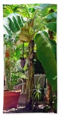 Hand Towel featuring the painting Banana Tree by David  Van Hulst