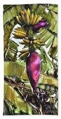 Hand Towel featuring the painting Banana Tree No.2 by Chonkhet Phanwichien