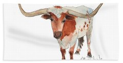 Texas Longhorn Bandero Watercolor Painting By Kmcelwaine Bath Towel by Kathleen McElwaine