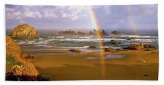 Bandon Beach Rainbow Sunrise Bath Towel