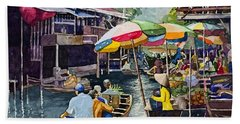 Bangkok's Floating Market Bath Towel