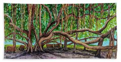 Bath Towel featuring the painting Banyan Tree Park by Darice Machel McGuire