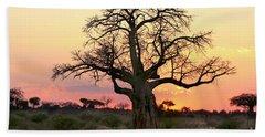 Baobab Tree At Sunset  Hand Towel