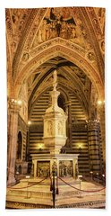 Hand Towel featuring the photograph Baptistery Siena Italy by Joan Carroll
