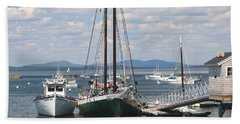 Bar Harbor Waterfront And Boats Hand Towel