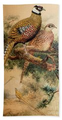 Bar-tailed Pheasant Hand Towel by Joseph Wolf