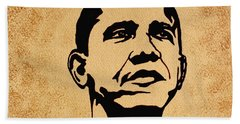 Barack Obama Original Coffee Painting Bath Towel by Georgeta  Blanaru