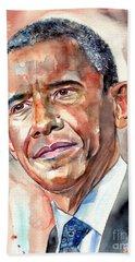 Barack Obama Painting Hand Towel