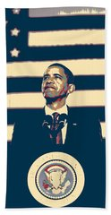 Barack Obama With American Flag 4 Hand Towel