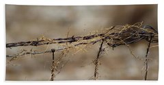 Barbed Wire Entwined With Dried Vine In Autumn Bath Towel
