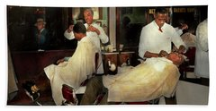Hand Towel featuring the photograph Barber - A Time Honored Tradition 1941 by Mike Savad