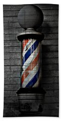 Barber Pole Blues  Hand Towel by Jerry Cordeiro