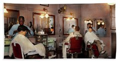 Hand Towel featuring the photograph Barber - Senators-only Barbershop 1937 by Mike Savad