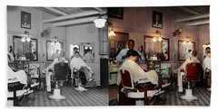 Hand Towel featuring the photograph Barber - Senators-only Barbershop 1937 - Side By Side by Mike Savad
