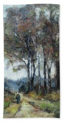 Hand Towel featuring the painting Barbizon Road by Debora Cardaci