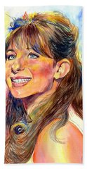 Barbra Streisand Young Portrait Hand Towel