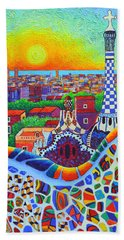 Barcelona Park Guell Sunrise Gaudi Tower Textural Impasto Knife Oil Painting By Ana Maria Edulescu Hand Towel