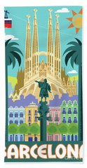 Barcelona Retro Travel Poster Hand Towel