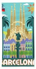 Barcelona Retro Travel Poster Bath Towel