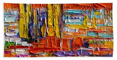 Barcelona Sagrada Familia View From Parc Guell Abstract Palette Knife Oil Painting Hand Towel