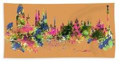 Barcelona Watercolor Skyline Hand Towel