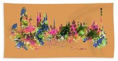 Barcelona Watercolor Skyline Hand Towel by Marian Voicu
