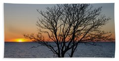 Bare Tree At Sunset Hand Towel