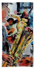 Baritone Saxophone Mixed Media Music Art Hand Towel
