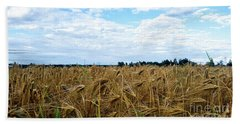 Barley And Sky In Oulu, Finland. Bath Towel