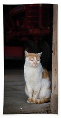 Barn Cat And Tractor Hand Towel