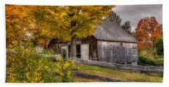 Barn In Autumn Bath Towel by Joann Vitali
