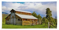Barn In Rocky Mountains Hand Towel