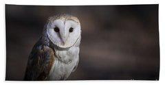 Barn Owl Hand Towel by Andrea Silies