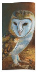 Barn Owl Blue Bath Towel