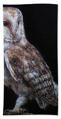 Hand Towel featuring the painting Barn Owl by Cherise Foster