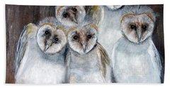 Barn Owl Chicks Hand Towel