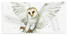 Barn Owl Flying Watercolor Hand Towel by Olga Shvartsur