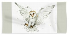 Barn Owl Flying Watercolor Hand Towel