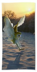 Barn Owl In Snowy Sunset Hand Towel
